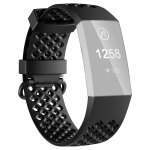 2 PCS 3D Diamond Hollow Type Replacement Silicone Strap For Fitbit Charge4/3 Smart Watch, Colour: Black L Yards