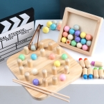 Wooden Clip Beads Toy Children Chopsticks Training Toys, Colour: PAS-Brain Play Chess