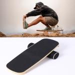 Surfing Ski Balance Board Roller Wooden Yoga Board, Specification: 03B Black Sand