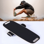Surfing Ski Balance Board Roller Wooden Yoga Board, Specification: 06B Black Sand With Handle