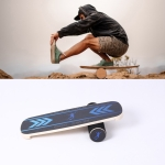 Surfing Ski Balance Board Roller Wooden Yoga Board, Specification: 03B Color Sand