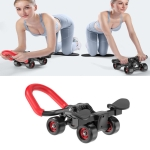 Four-Wheel Abdomen Wheel With Hand Support Household Rollers Fitness Equipment For Men And Women(Black Red)