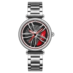 SANDA P1074 Cool Couple Steel Band Quartz Watch Wheel Series Dial Ladies Watch(Silver Red)