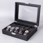 Carbon Fiber PU Leather Watch Box Jewelry Storage Box Packaging Box, Style: 10 Watch Positions