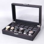 Carbon Fiber PU Leather Watch Box Jewelry Storage Box Packaging Box, Style: 12 Watch Positions