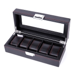 Carbon Fiber PU Leather Watch Box Jewelry Storage Box Packaging Box, Style: 05 Watch Positions