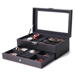 Carbon Fiber PU Leather Watch Box Jewelry Storage Box Packaging Box, Style:  Double-layer