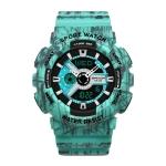 SANDA Three-Pin Luminous Outdoor Waterproof Multifunctional Couple Electronic Watch(Women Line Blue)
