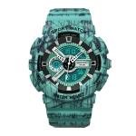 SANDA Three-Pin Luminous Outdoor Waterproof Multifunctional Couple Electronic Watch(Men Line Blue)