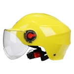 BYB 207 Men And Women Electric Motorcycle Adult Helmet Universal Hard Hat, Specification: Transparent Short Lens(Yellow)