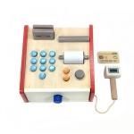 Children Wooden Simulation Cash Register Supermarket Credit Card Machine Pretend Play Toy(White)