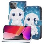 3D Painted Pattern Horizontal Flip Leather Case with Holder & Wallet & Card slot & Lanyard For iPhone 13(Rabbit)
