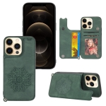 Mandala Embossed PU + TPU Case with Holder & Card Slots & Photo Frame & Hand Strap For iPhone 13 Pro(Green)