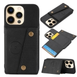 Double Buckle PU + TPU Shockproof Magnetic Protective Case with Card Slot & Holder For iPhone 13(Black)
