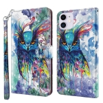 3D Painting Pattern Horizontal Flip TPU + PU Leather Case with Holder & Card Slots & Wallet For iPhone 13 mini(Watercolor Owl)