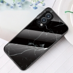 For OnePlus Nord 2 5G Marble Pattern Glass + TPU Protective Case(Black)