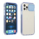 Sliding Camera Cover Design Shockproof TPU Frame + Clear PC Case For iPhone 12 Pro(Blue)