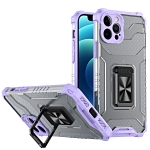 Armor Clear PC + TPU Shockproof Case with Metal Ring Holder For iPhone 12 / 12 Pro(Purple Transparent Grey)