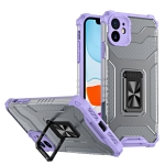 Armor Clear PC + TPU Shockproof Case with Metal Ring Holder For iPhone 11 Pro Max(Purple Transparent Grey)