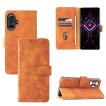 Solid Color Skin Feel Magnetic Buckle Horizontal Flip Calf Texture PU Leather Case with Holder & Card Slots & Wallet For Xiaomi Poco F3 GT / Redmi K40 Gaming(Brown)