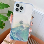 Flowing Golden Marble TPU Phone Protective Case For iPhone 13 Pro(Green)