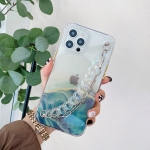 Flowing Golden Marble Pattern + Bracelet TPU Phone Protective Case For iPhone 12 mini(Green)
