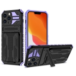 Armor Card PC + TPU Shockproof Case with Card Slot & Invisible Holder For iPhone 13 Pro(Purple)