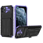 Armor Card PC + TPU Shockproof Case with Card Slot & Invisible Holder For iPhone 11 Pro Max(Purple)
