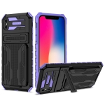 Armor Card PC + TPU Shockproof Case with Card Slot & Invisible Holder For iPhone XS Max(Purple)