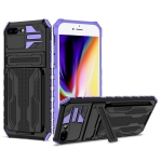 Armor Card PC + TPU Shockproof Case with Card Slot & Invisible Holder For iPhone 8 Plus / 7 Plus(Purple)
