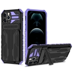 Armor Card PC + TPU Shockproof Case with Card Slot & Invisible Holder For iPhone 12 Pro(Purple)