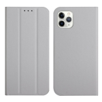 3-Folding Ultrathin Skin Feel Magnetic Solid Color Horizontal Flip Leather Case with Holder For iPhone 13 Pro(Grey)