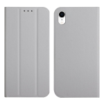 3-Folding Ultrathin Skin Feel Magnetic Solid Color Horizontal Flip Leather Case with Holder For iPhone XR(Grey)