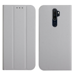 For OPPO A9 2020 3-Folding Ultrathin Skin Feel Magnetic Solid Color Horizontal Flip Leather Case with Holder(Grey)