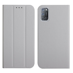 For OPPO A52 / A72 / A92 3-Folding Ultrathin Skin Feel Magnetic Solid Color Horizontal Flip Leather Case with Holder(Grey)