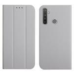 For OPPO Realme 5 / C3 3-Folding Ultrathin Skin Feel Magnetic Solid Color Horizontal Flip Leather Case with Holder(Grey)
