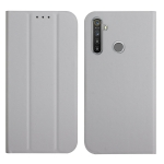 For OPPO Realme 6 / 6i 3-Folding Ultrathin Skin Feel Magnetic Solid Color Horizontal Flip Leather Case with Holder(Grey)