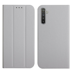 For OPPO Realme 6 Pro 3-Folding Ultrathin Skin Feel Magnetic Solid Color Horizontal Flip Leather Case with Holder(Grey)
