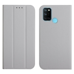 For OPPO Realme 7i 3-Folding Ultrathin Skin Feel Magnetic Solid Color Horizontal Flip Leather Case with Holder(Grey)