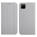 For OPPO Realme C11 3-Folding Ultrathin Skin Feel Magnetic Solid Color Horizontal Flip Leather Case with Holder(Grey)