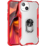 Honeycomb PC + TPU Shockproof Case with Ring Holder For iPhone 13 mini(Red)