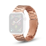 Ultra-thin Three-bead Metal Replacement Strap Watchband For Apple Watch Series 6 & SE & 5 & 4 44mm / 3 & 2 & 1 42mm(Rose Gold)
