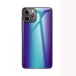 Gradient Carbon Fiber Texture TPU Border Tempered Glass Case For iPhone 11 Pro(Blue Fiber)