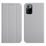 For Xiaomi Poco X3 GT 3-Folding Ultrathin Skin Feel Magnetic Solid Color Horizontal Flip Leather Case with Holder(Grey)