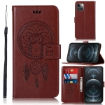 Wind Chime Owl Embossing Pattern Horizontal Flip Leather Case with Holder & Card Slots & Wallet For iPhone 13 mini(Brown)