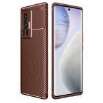 For vivo X70 Pro Carbon Fiber Texture Shockproof TPU Case(Brown)