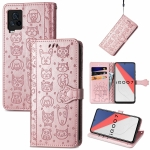 For Vivo iQOO 7 Lovely Cat and Dog Embossing Pattern Horizontal Flip Leather Case , with Holder & Card Slots & Wallet & Cartoon Clasp & Lanyard(Rose Gold)
