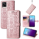 For V20 2021 Lovely Cat and Dog Embossing Pattern Horizontal Flip Leather Case , with Holder & Card Slots & Wallet & Cartoon Clasp & Lanyard(Rose Gold)