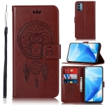 For OnePlus Nord N200 5G Wind Chime Owl Embossing Pattern Horizontal Flip Leather Case with Holder & Card Slots & Wallet(Brown)