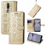 For Nokia 2.4 Lovely Cat and Dog Embossing Pattern Horizontal Flip Leather Case , with Holder & Card Slots & Wallet & Cartoon Clasp & Lanyard(Gold)